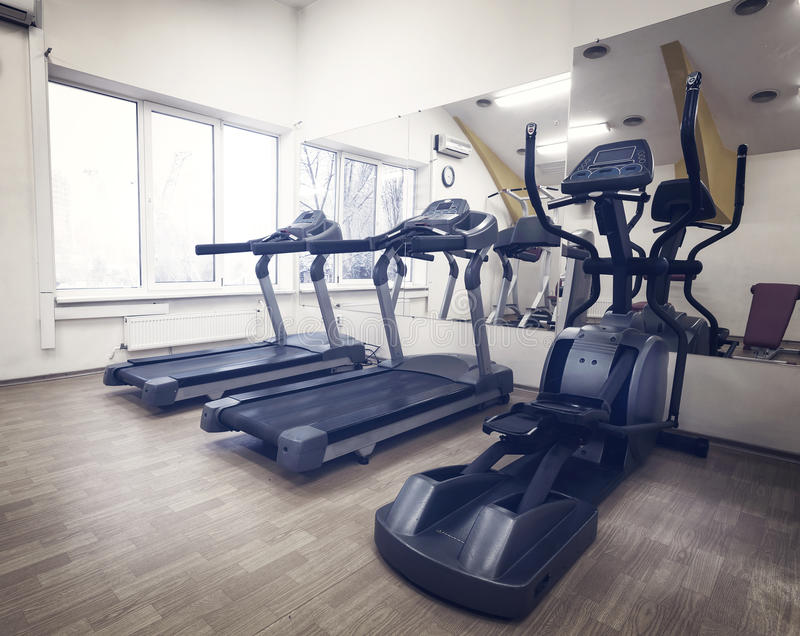 Cardio in the gym stock image