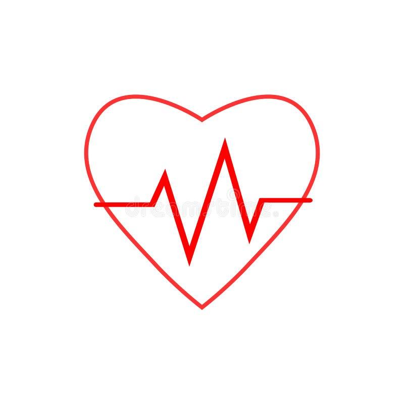 Cardio, hart, hart sla pictogram Vectorillustratie, vlak ontwerp royalty-vrije illustratie