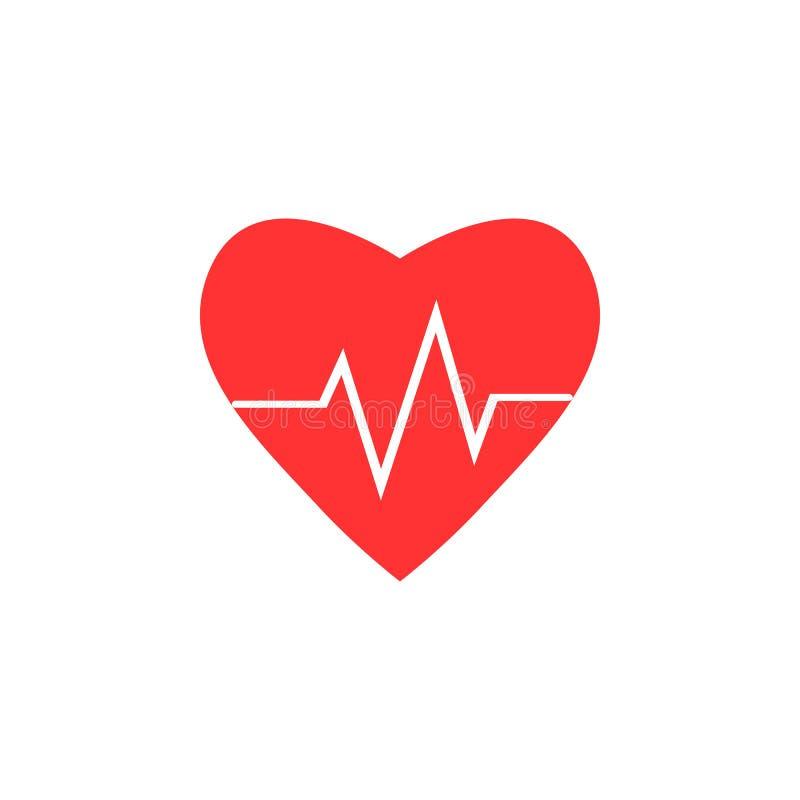Cardio, hart, hart sla pictogram Vectorillustratie, vlak ontwerp stock illustratie