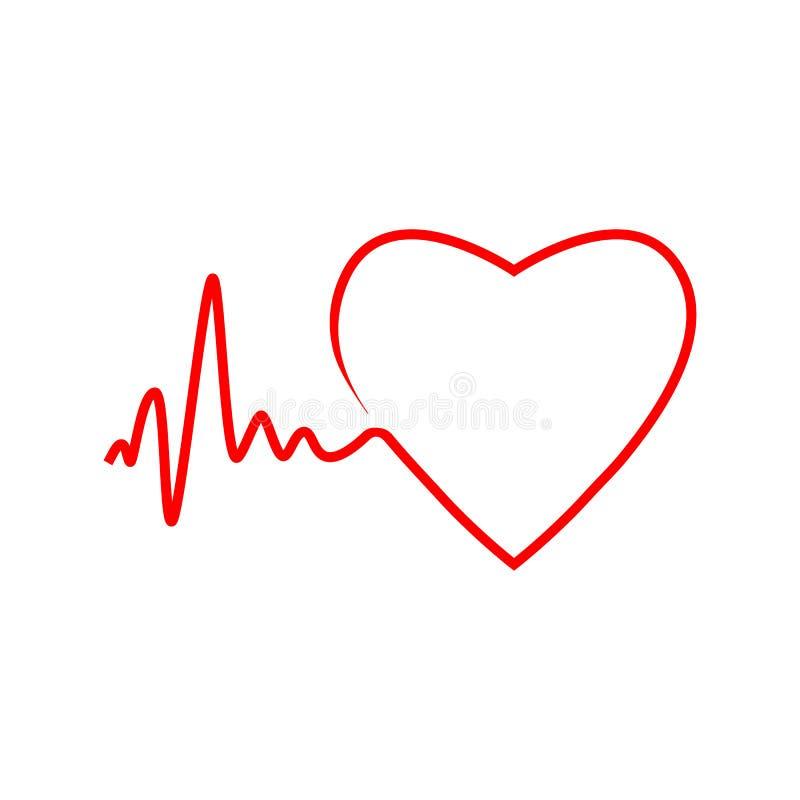Cardio hjärta, symbol för hjärtatakt Vektorillustration, lägenhetdesign vektor illustrationer