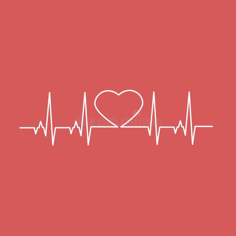 Cardio linea di cuore di battito cardiaco Illustrazione di vettore illustrazione vettoriale