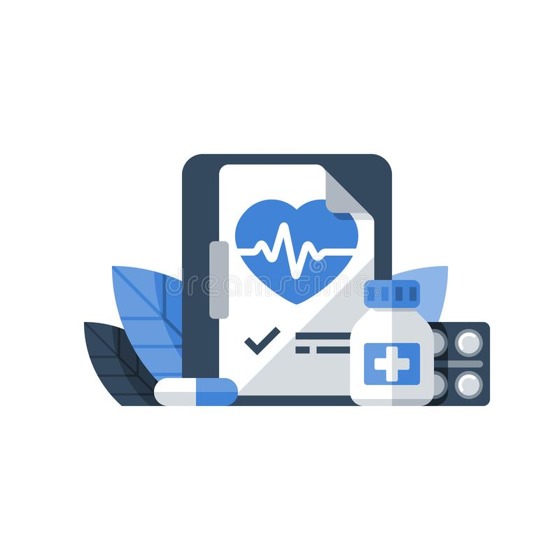 Cardio medicinsk examen, hjärtsjukdomundersökning, högt blodtryckdiagnostik, blodtrycksjukdom, kardiologireceptmedicin royaltyfri illustrationer