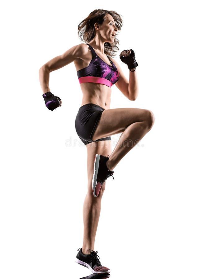 Cardio- mulher de encaixotamento da ginástica aeróbica do exercício da aptidão do exercício fotografia de stock royalty free