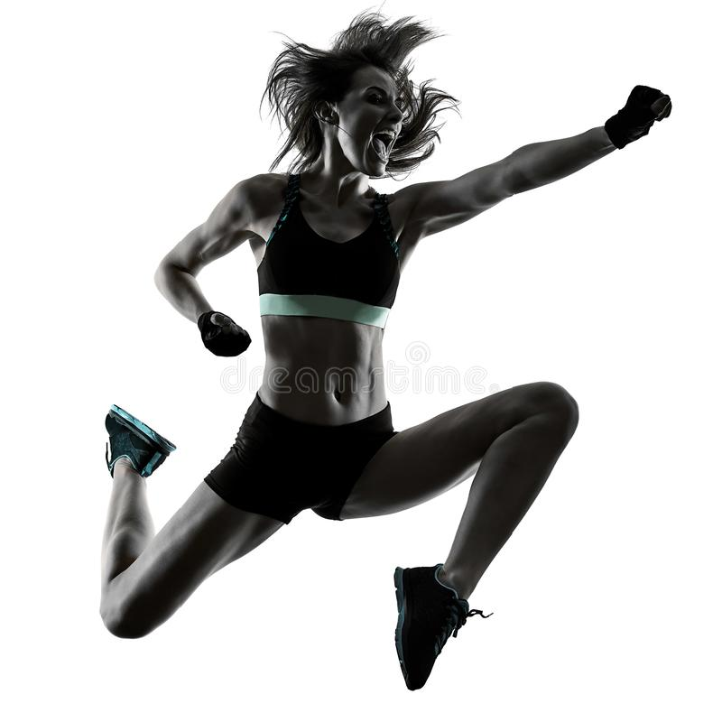 A cardio- mulher de encaixotamento da ginástica aeróbica do exercício da aptidão do exercício isolou-se imagens de stock