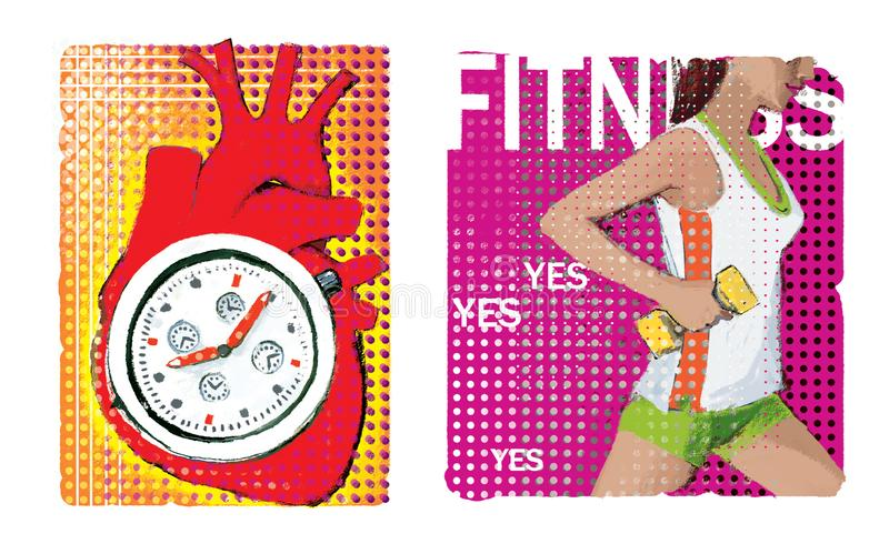 Cardio. Set of two illustrations about cardio. An anatomical image of the heart with a stylized stopwatch inside. royalty free illustration