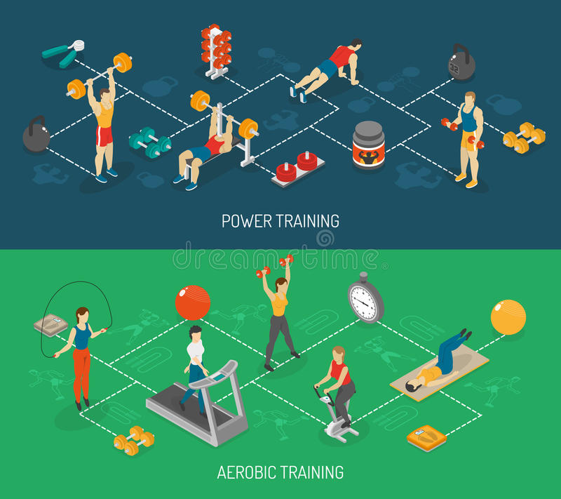 Cardio And Strength Training Isometric Banners Set royalty free illustration