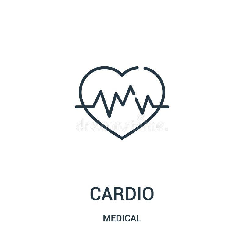 cardio vettore dell'icona dalla raccolta medica Linea sottile cardio illustrazione di vettore dell'icona del profilo illustrazione vettoriale