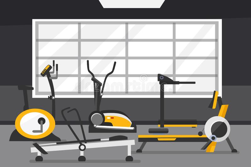 Cardio zone concept. Gym of fitness center interior design in flat style with Elliptical Machine Cross Trainer, Treadmill, Rowing stock illustration