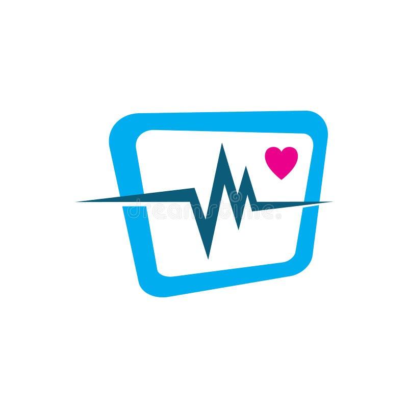 cardiogram beats of Heart monitor vector logo design sign symbol royalty free illustration