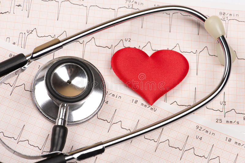 Cardiogram chart with heart and stethoscope royalty free stock photo