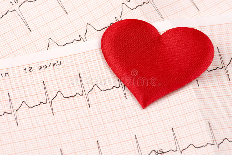 Cardiogram chart with red heart royalty free stock image