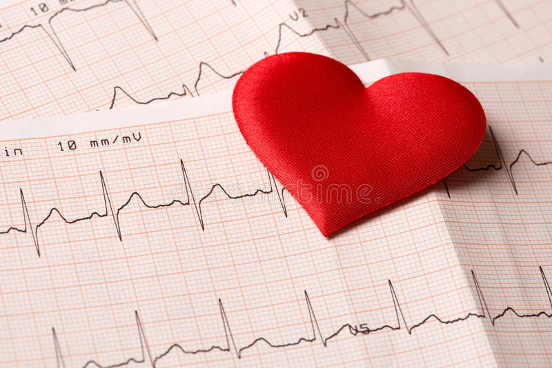 Cardiogram chart with red heart stock photos