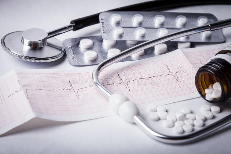 Cardiogram en nitroglycerine stock foto's
