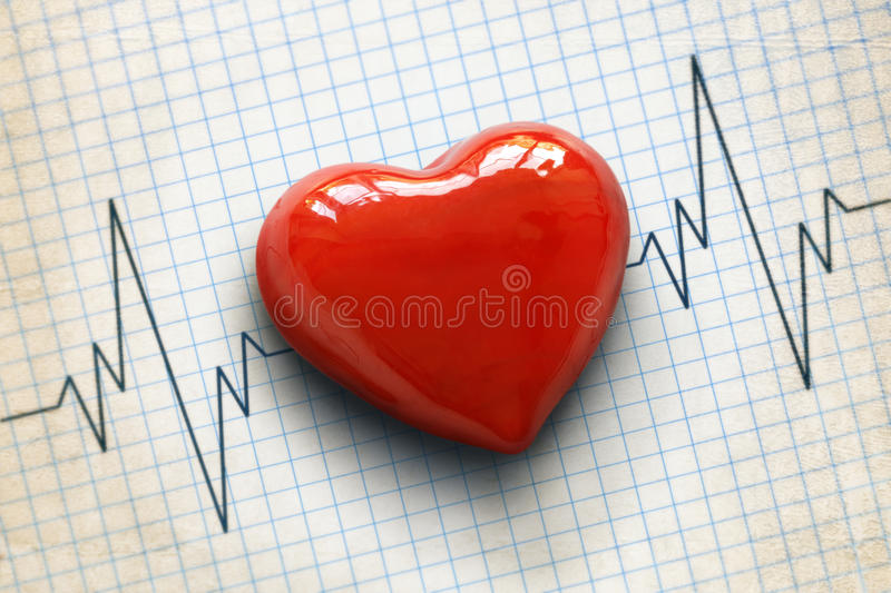 Cardiogram and heart royalty free stock images