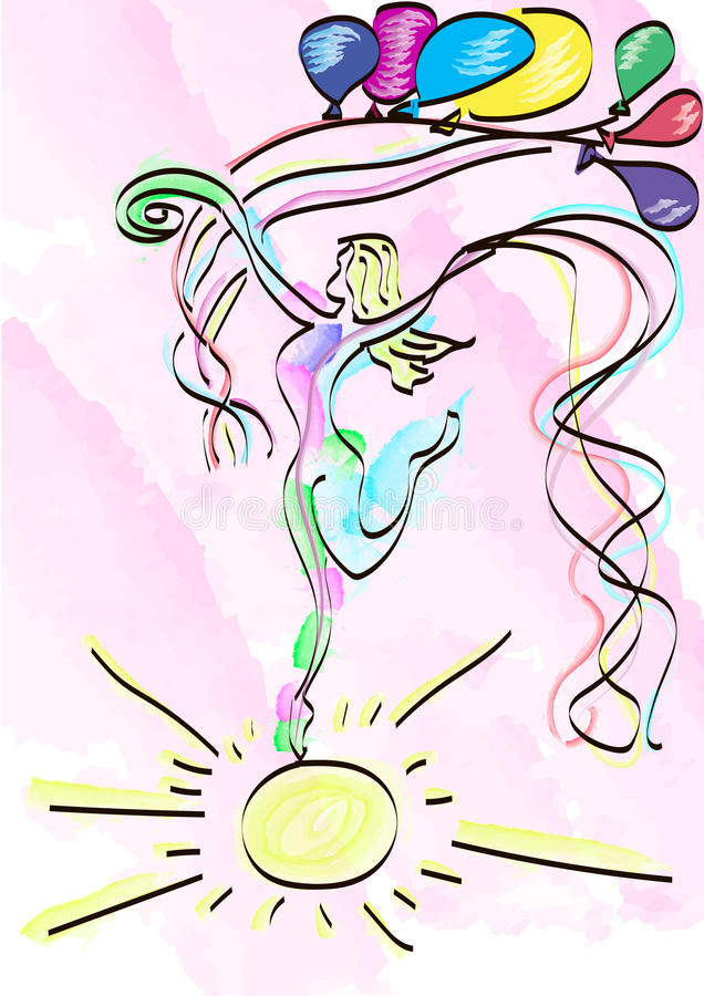 abstract girl dancing on sun vector illustration