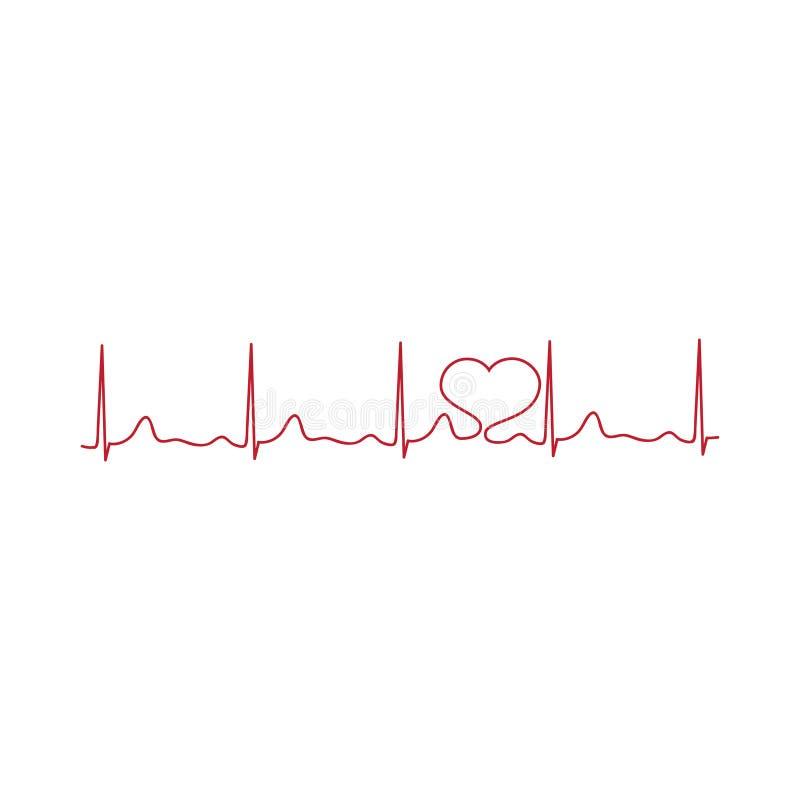cardiogram línea de corazón, vector ilustración del vector