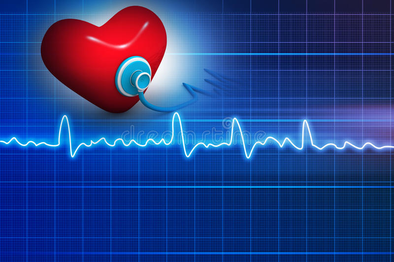 Cardiogram, love and stethoscope royalty free illustration
