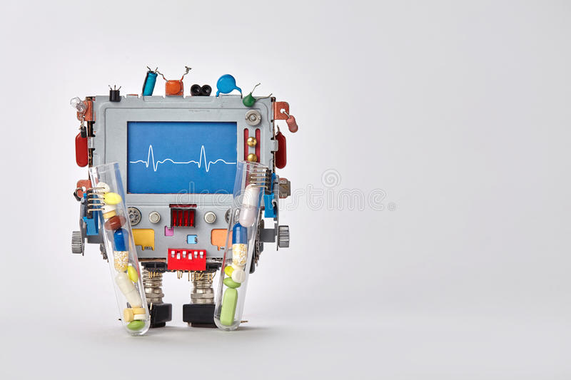 Cardiogram monitor heartbeat line on blue display cardiograph. Robot character with clinic pulse test graphic, set of stock photos
