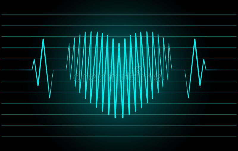 Cardiogram in the shape of the heart. On a black background vector illustration