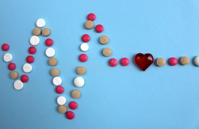 Cardiograma alinhado com os comprimidos diferentes da cor com um coração fotografia de stock royalty free
