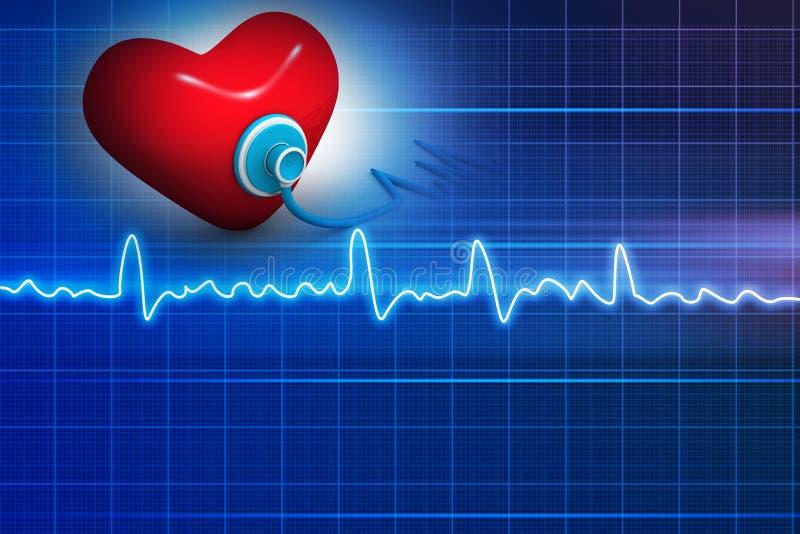 Cardiograma, amor e estetoscópio ilustração royalty free