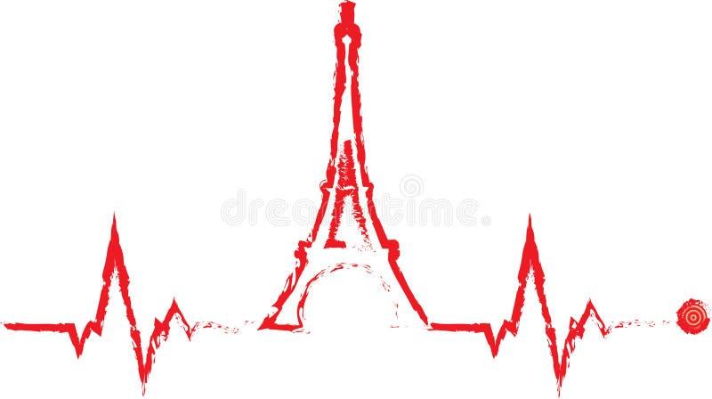 Cardiograma da torre de Eifel do vetor ilustração royalty free