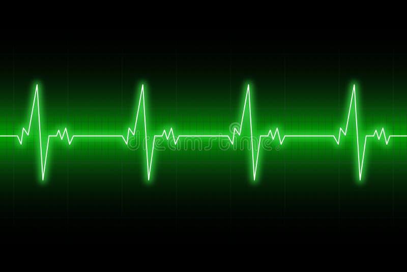 Cardiograma das pulsação do coração Linha de coração do ECG Fundo verde do eletrocardiograma Vetor ilustração stock