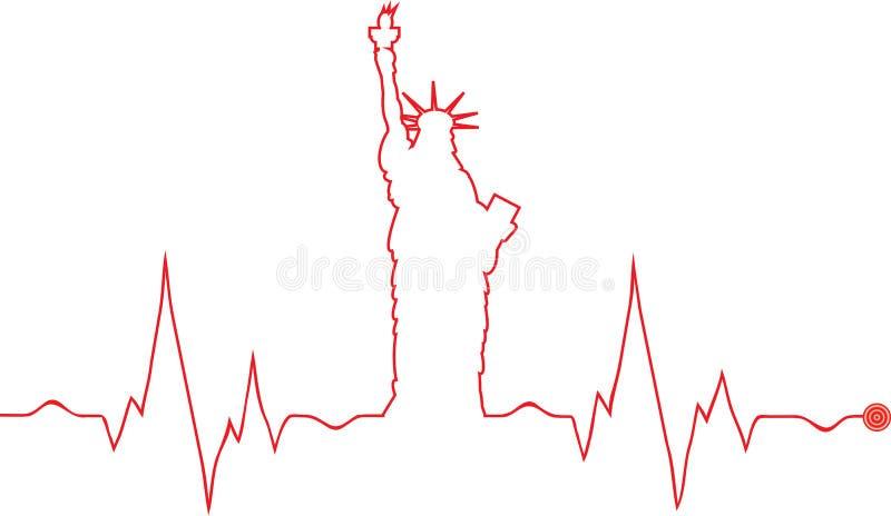 Cardiograma de la estatua de la libertad del vector stock de ilustración