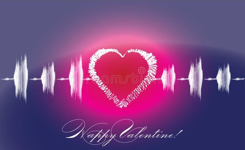 Cardiograma del corazón de los amantes de la tarjeta del día de San Valentín ilustración del vector