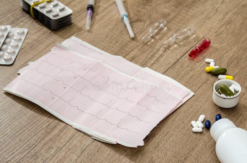 Cardiograma do coração com seringa e tabuletas fotografia de stock royalty free