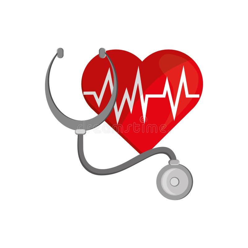Cardiograma do coração e ícone do estetoscópio ilustração royalty free