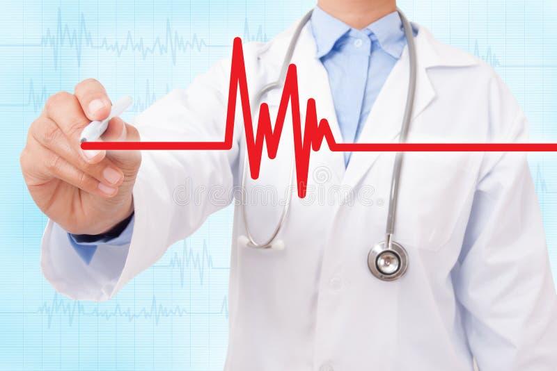 Cardiograma e eletrocardiograma do desenho da mão do doutor imagem de stock royalty free