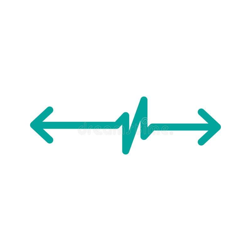 Cardiograma linear com as duas setas opostas do sentido Monitor do batimento cardíaco da cardiologia ECG Linha do pulso Ilustraçã ilustração do vetor