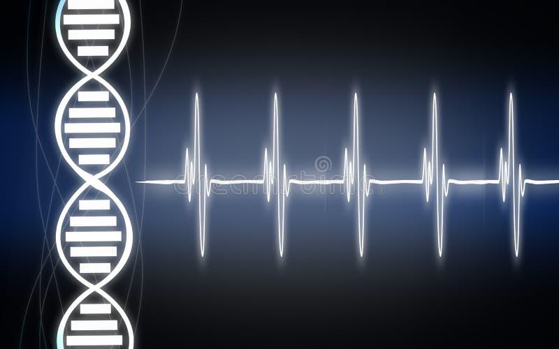 Cardiogramma di battito cardiaco con il filo del DNA royalty illustrazione gratis