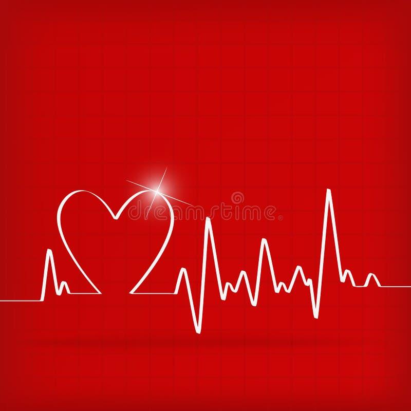 Cardiogramme blanc de battements de coeur illustration stock