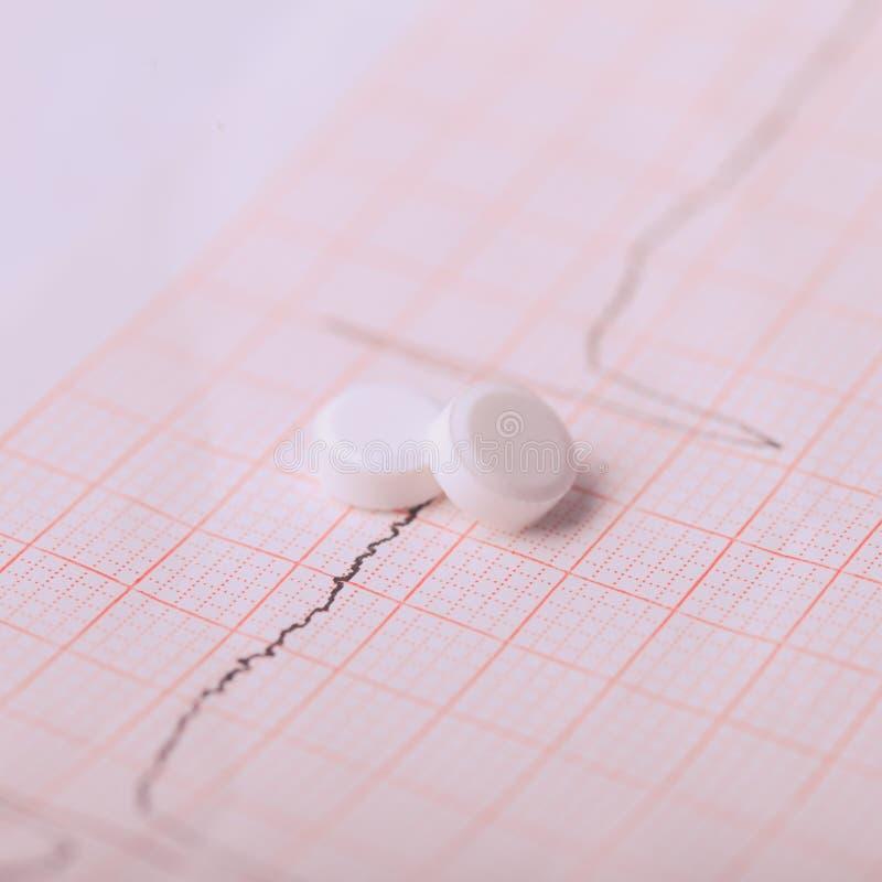 Cardiogramme et nitroglycérine photographie stock libre de droits
