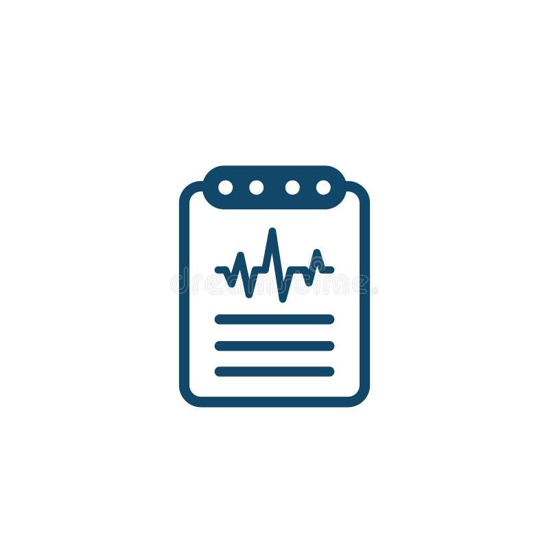 Cardiogramme, icône de vecteur de rapport de diagnostic de coeur illustration libre de droits