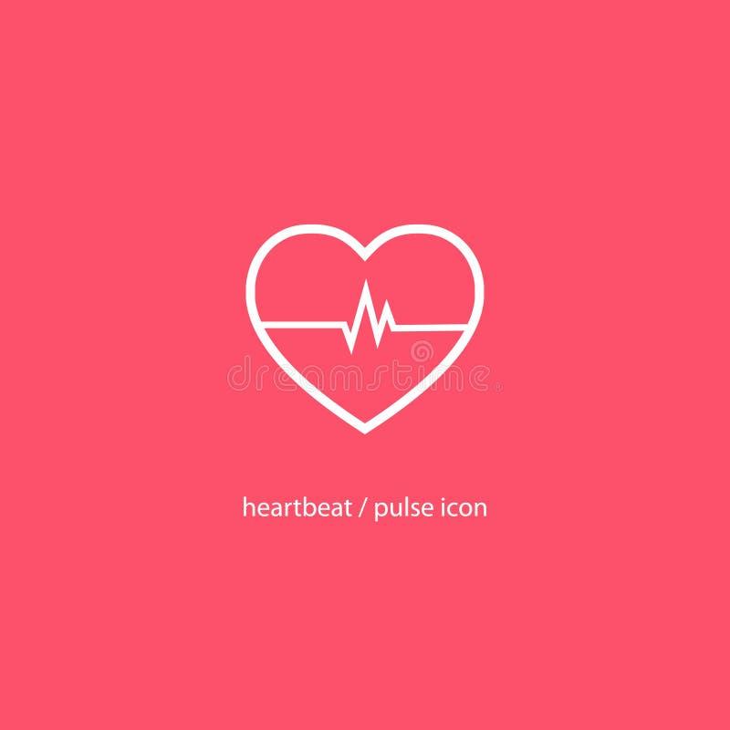 Cardiogramme stylisé d'icône de coeur Hearbeat et icône d'impulsion illustration libre de droits