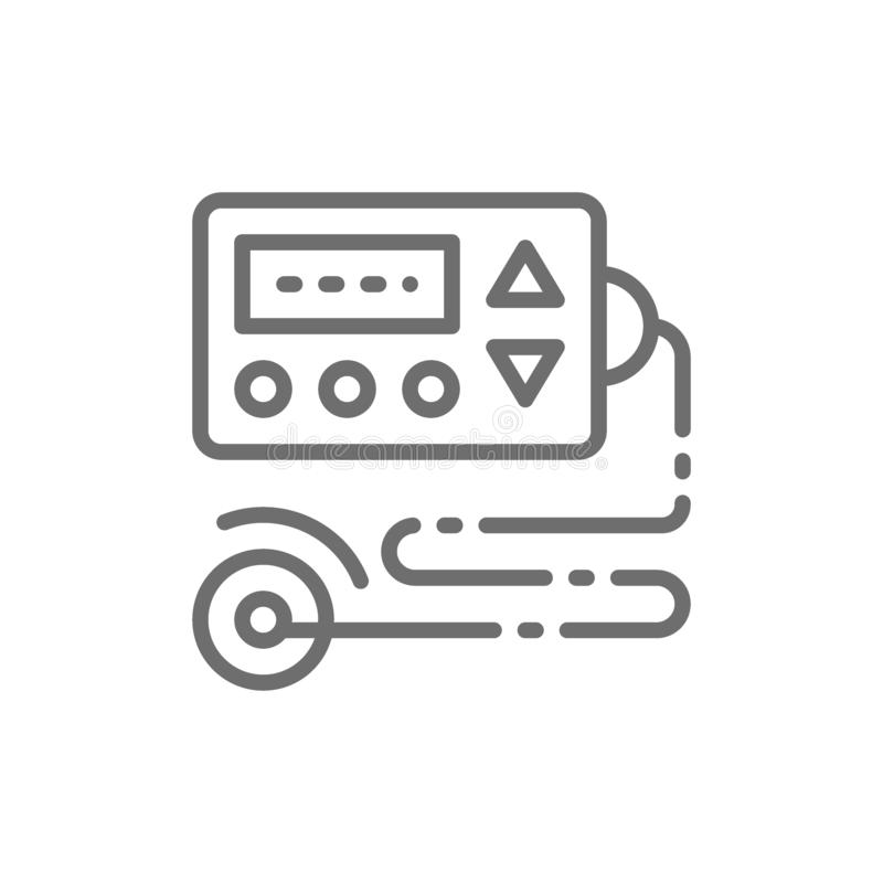 Cardiograph, eco heart monitor, ecg, electrocardiogram, blood pressure monitor line icon. royalty free illustration