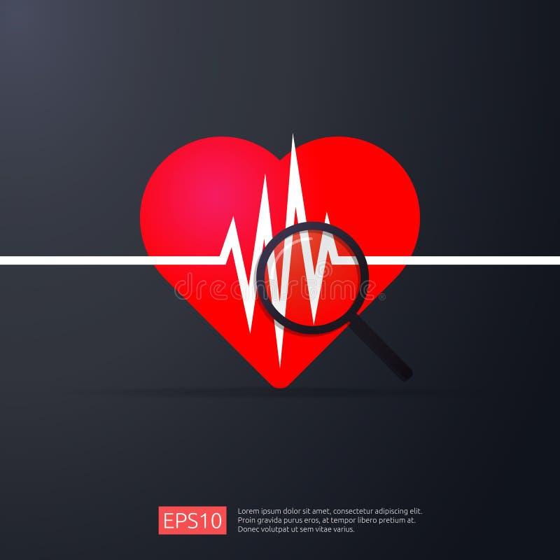 Cardiologia do coração ícone da pulsação do coração ou da busca do pulso da batida símbolo do cardíaco de ataque do perigo concei ilustração royalty free