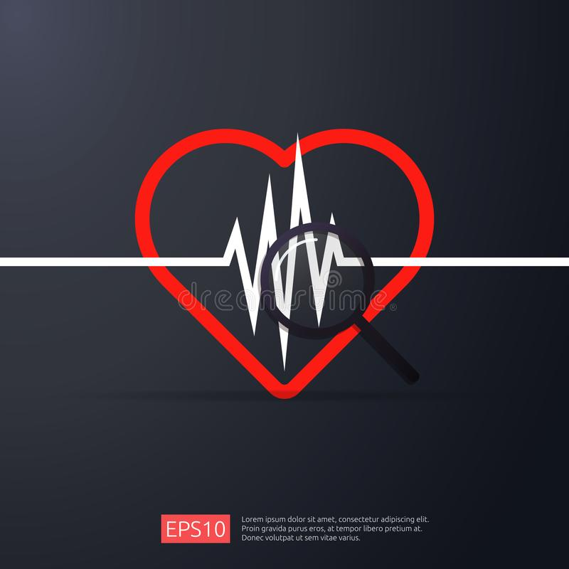 Cardiologia do coração ícone da pulsação do coração ou da busca do pulso da batida símbolo do cardíaco de ataque do perigo concei ilustração do vetor