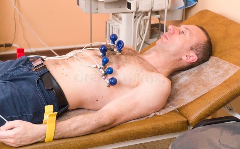 cardiologie De cardioloog onderzoekt het geduldige cardiogram van ` s De arts onderzoekt het hart stock afbeeldingen