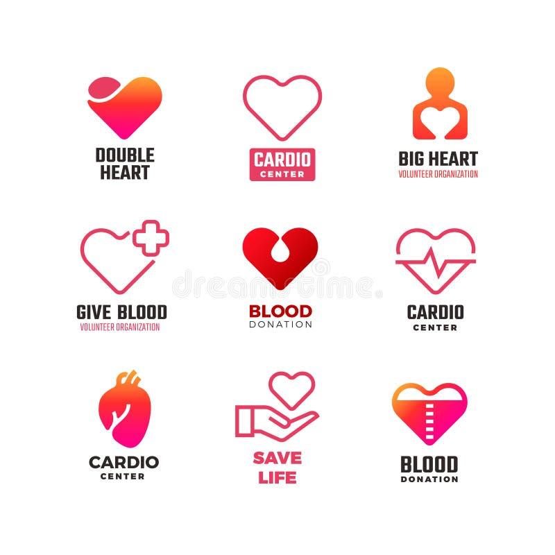 Cardiologie en bloeddonatie vector medische emblemen De internationale emblemen van de hartdag royalty-vrije illustratie