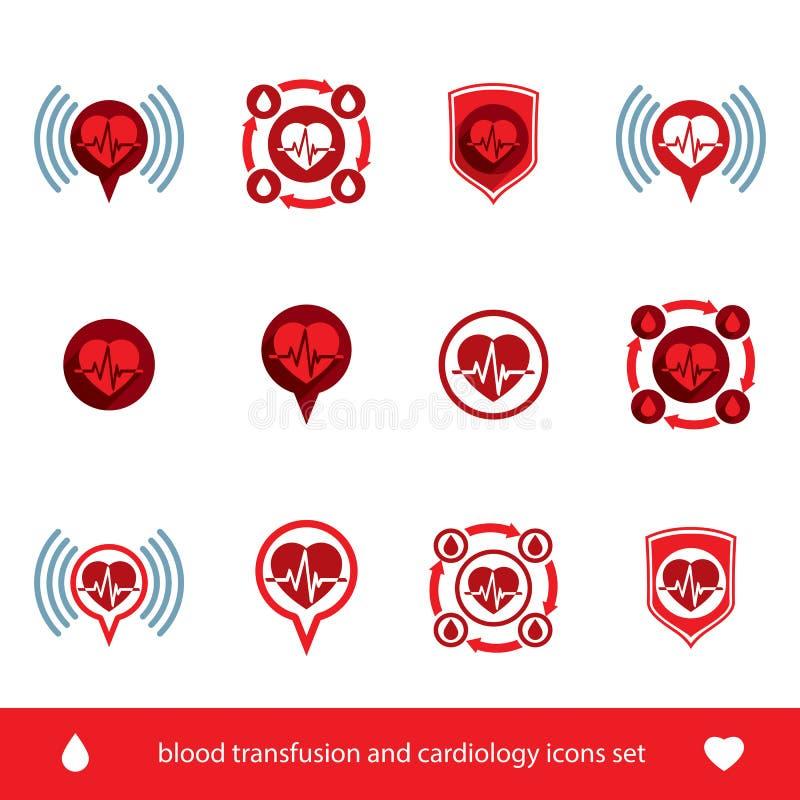 Cardiologie en bloedtransfusie vector geplaatste pictogrammen, creatieve symb vector illustratie