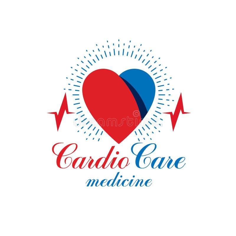 Cardiologie vector conceptueel die embleem met hart het pulseren wordt gemaakt royalty-vrije illustratie
