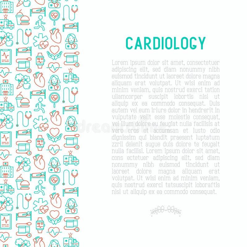Cardiologieconcept met dunne geplaatste lijnpictogrammen stock illustratie