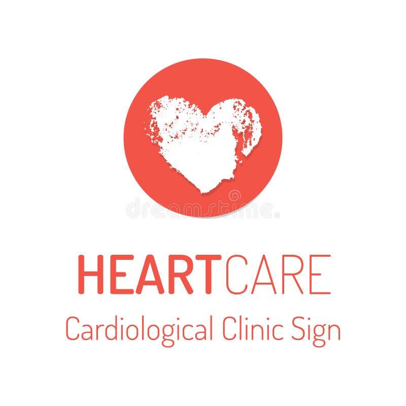 Cardiologisch kliniek vectorembleem met het hartteken royalty-vrije illustratie