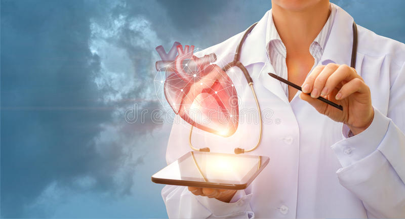 A cardiologist demonstrates the heart . A cardiologist demonstrates the heart of man on the tablet royalty free stock image