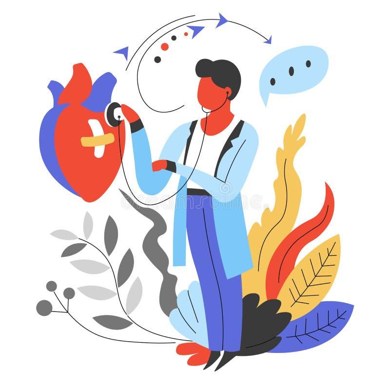Cardiologista do doutor que escuta a frequência cardíaca com medicina do estetoscópio ilustração royalty free