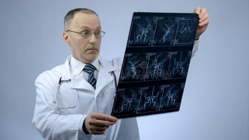Cardiologue expérimenté vérifiant le balayage de CT des vaisseaux sanguins, semblant étonné photographie stock